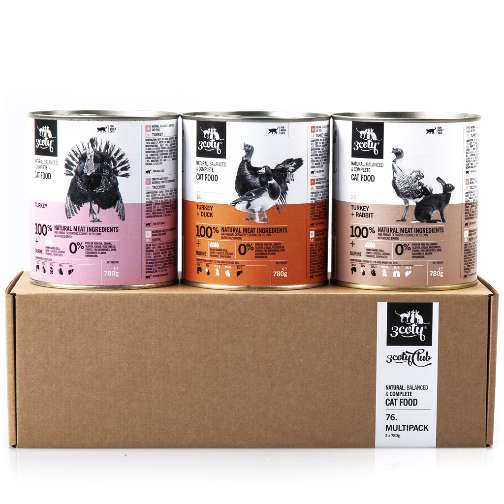 3coty 76.D Multipack for Adult Cats 3 x 780g